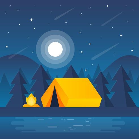 Nacht Camp Szene Illustration vektor