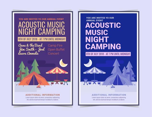 Vector noche camping carteles