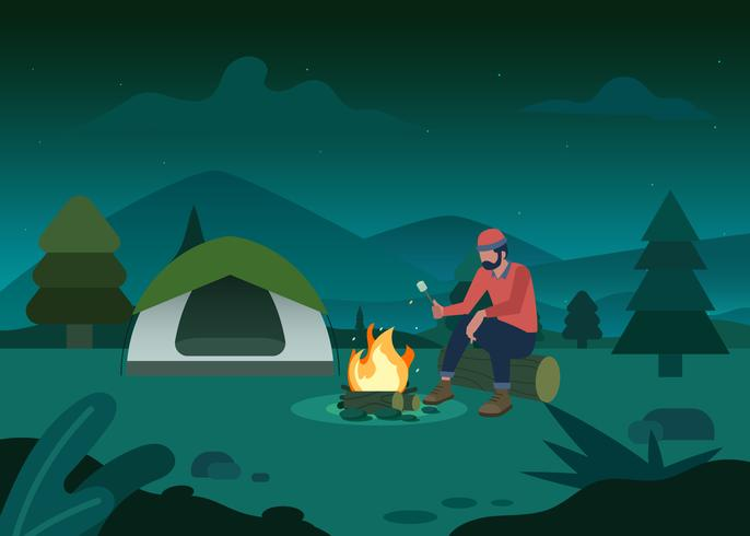 Camping In The Jungle Illustration