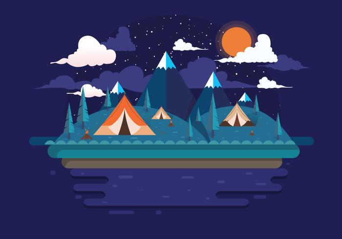 Night Camping Vector - Download Free Vector Art, Stock Graphics & Images