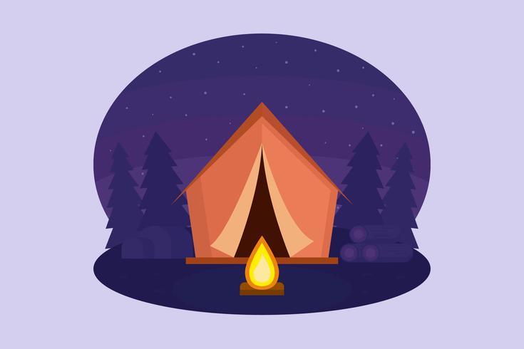 Vector de noche de camping