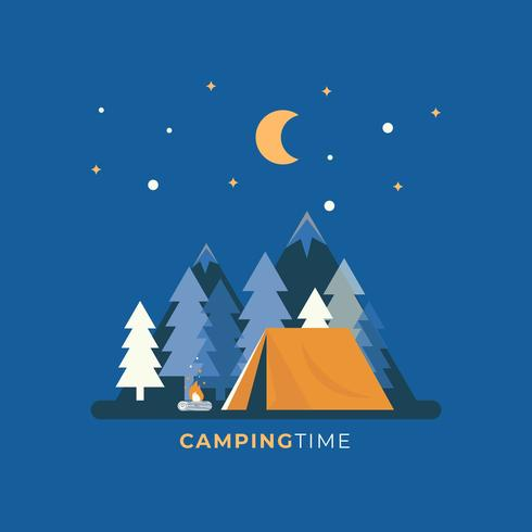 Nuit Camping Design plat Vector