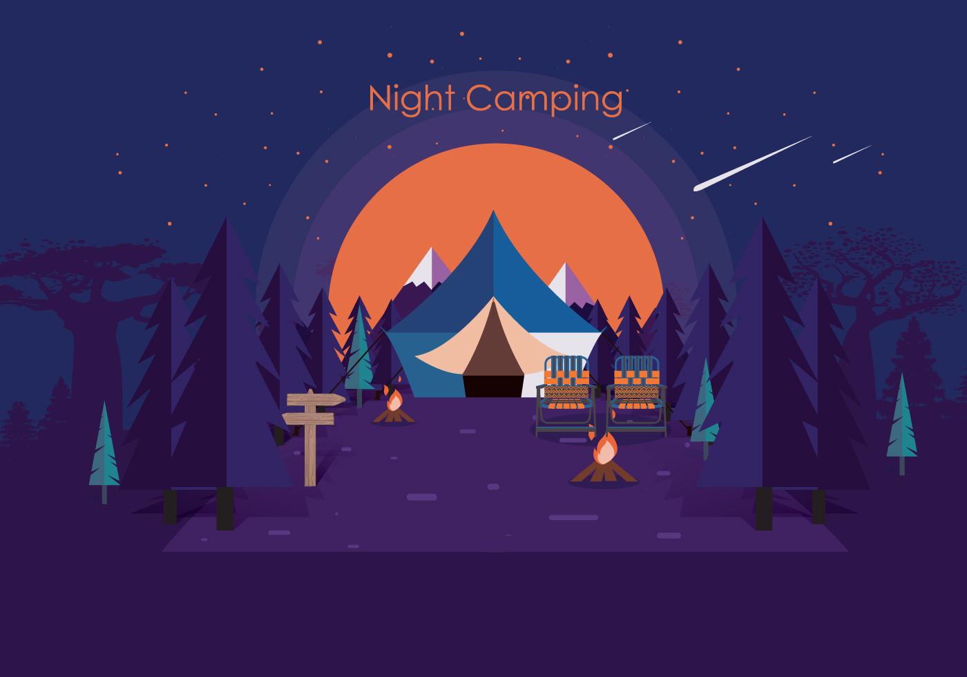 Night Camping Vol 2 Vector - Download Free Vectors ...