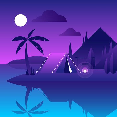 Campeggio notte vettoriale