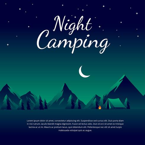 Night Camping Template Vector