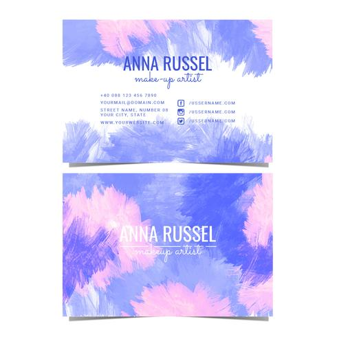 Vector Watercolor Makeup Artist Business Card