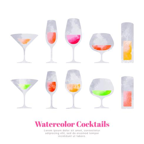 Cocktails aquarelles de vecteur