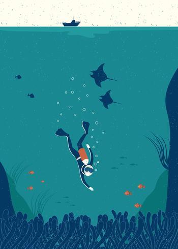 Vetor de mão desenhada de mergulho