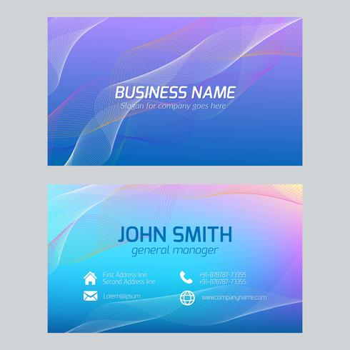 Blue Abstract Wavy Business Card