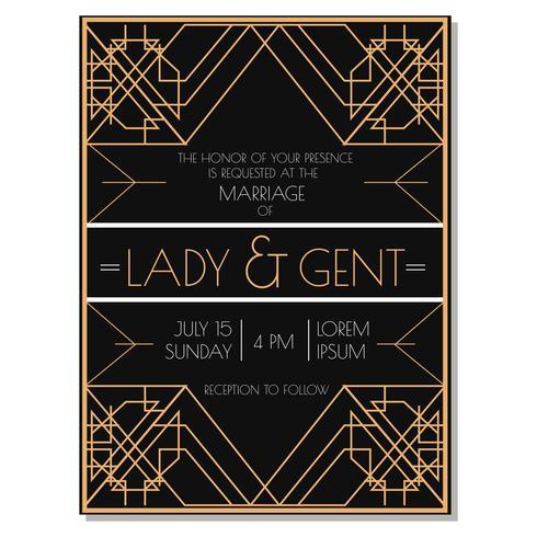 Art Deco Bröllop Inbjudan