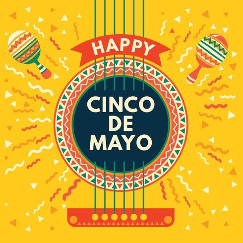 Cartão mexicano de cinco de Mayo com guitarra acústica e fundo de Maracas