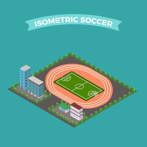 Ilustração em vetor plana isométrica futebol estádio