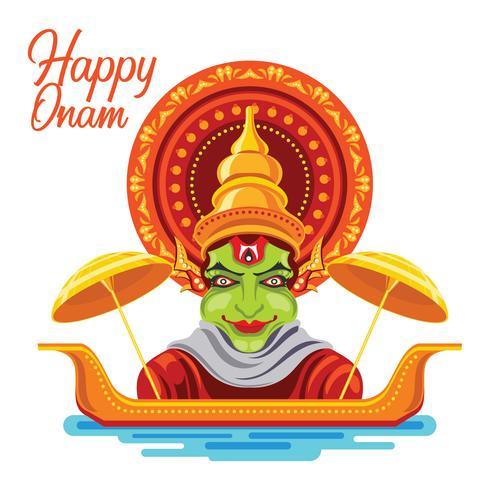 Illustration von buntem Kathakali für glückliches Onam-Festival von Süd-Indien Kerala