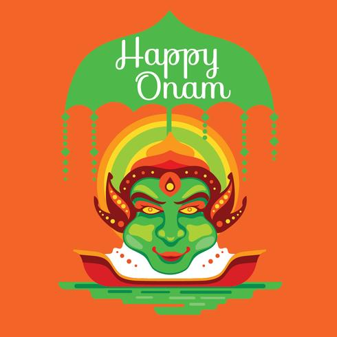 Kathakali Face on Decorative Background for South Indian Festival Onam