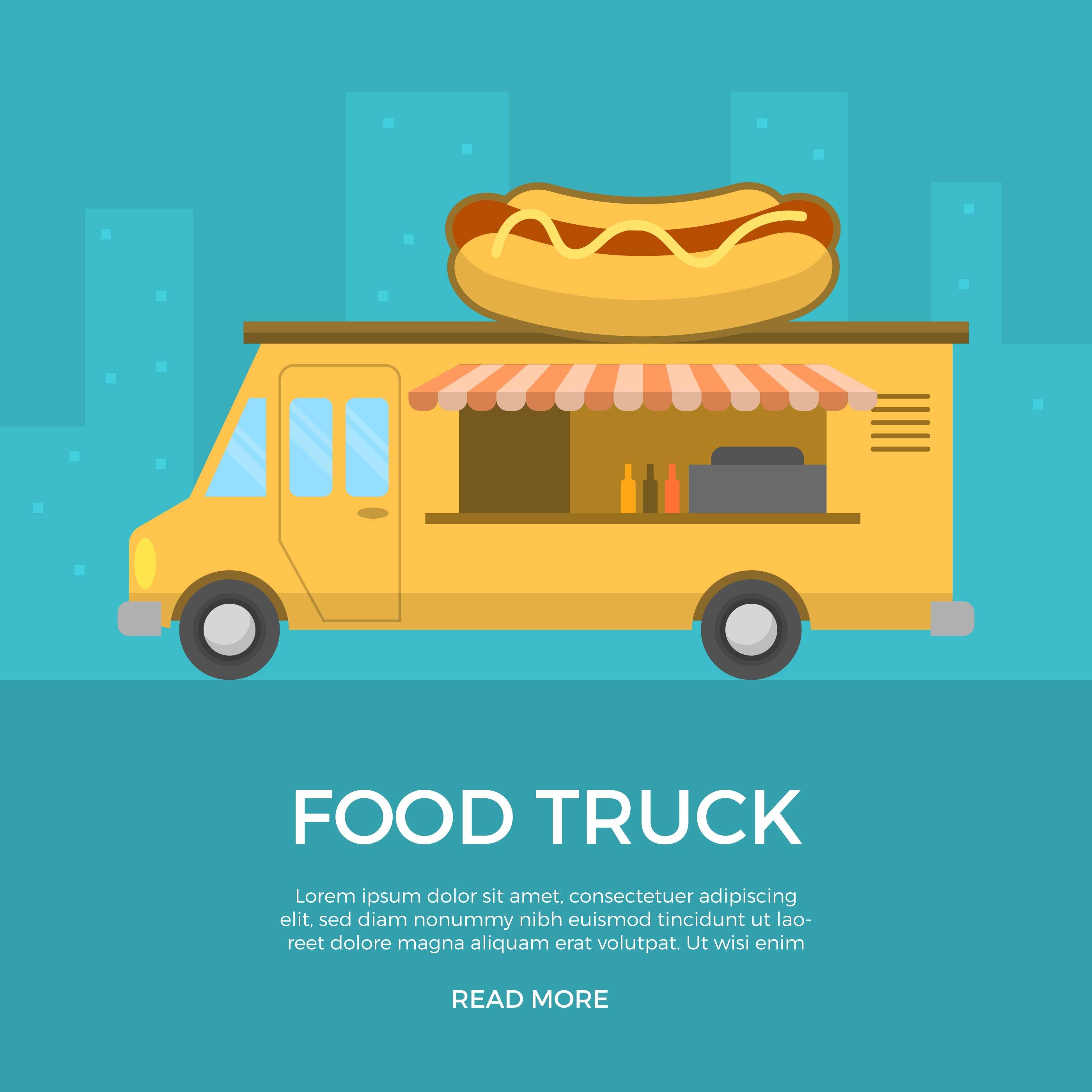 Flat Food Truck Vector Illustration