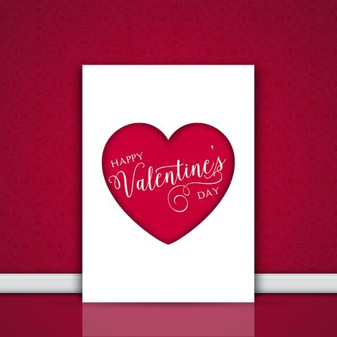 Valentine's day card leaning against a wall