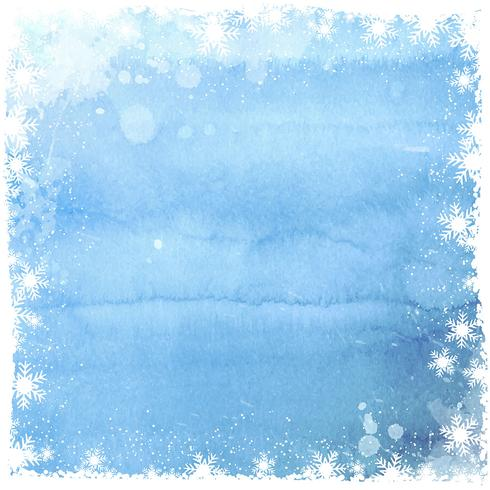 Watercolor Christmas snowflake background