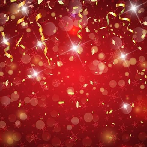 christmas confetti and streamers background download free vector