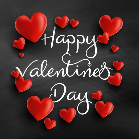 Valentine's Day background with 3D hearts