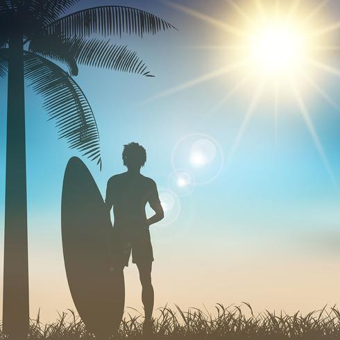 Surfer on a tropical background