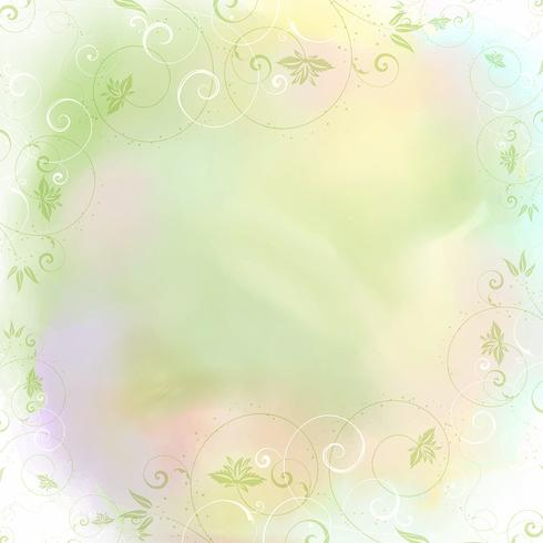 Floral frame on watercolor background