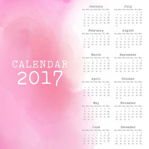 Watercolor calendar design