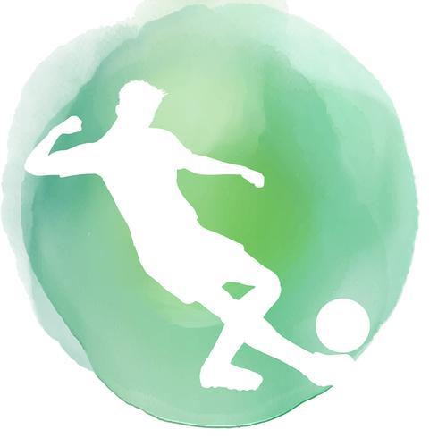 Silueta de futbolista sobre fondo de acuarela