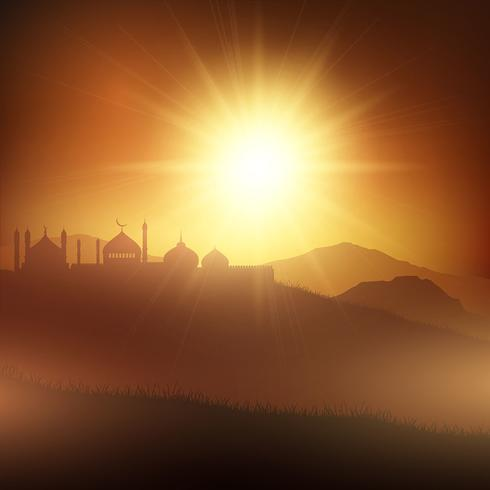 Ramadan background with mosques at sunset