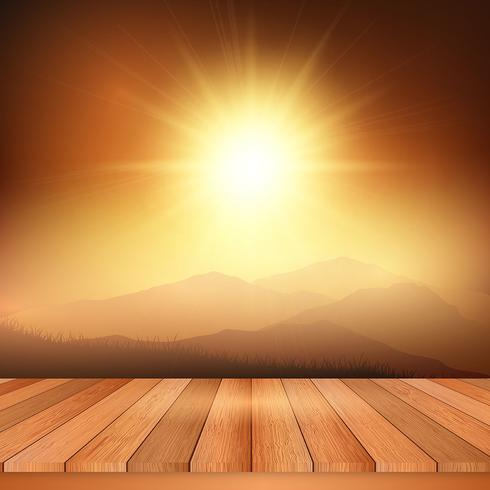 Table en bois donnant sur un paysage ensoleillé