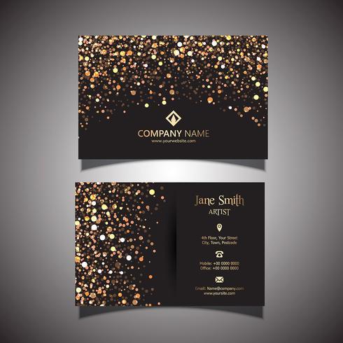 Cartão de visita de glitter dourados