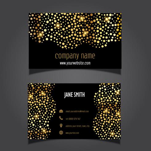Gold circles business card layout