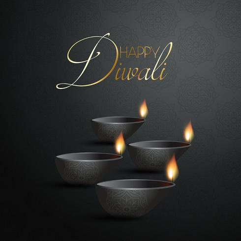 Decorative Diya lamp background for Diwali
