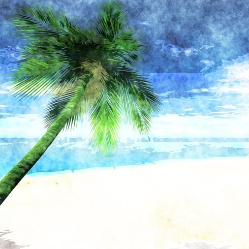 Watercolor palm tree on beach