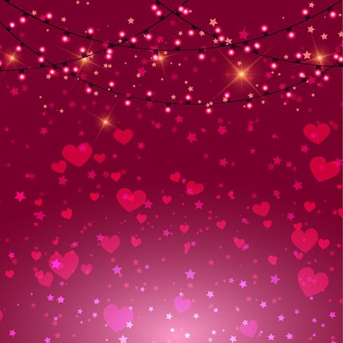 Valentine S Day Background With Hearts And Lights Download Free