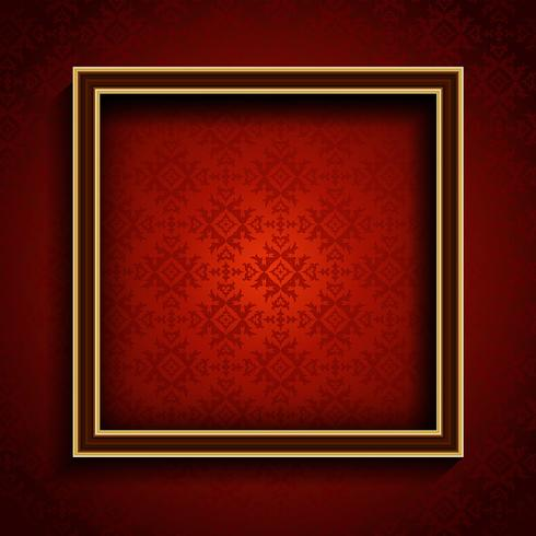 Old picture frame on red damask background