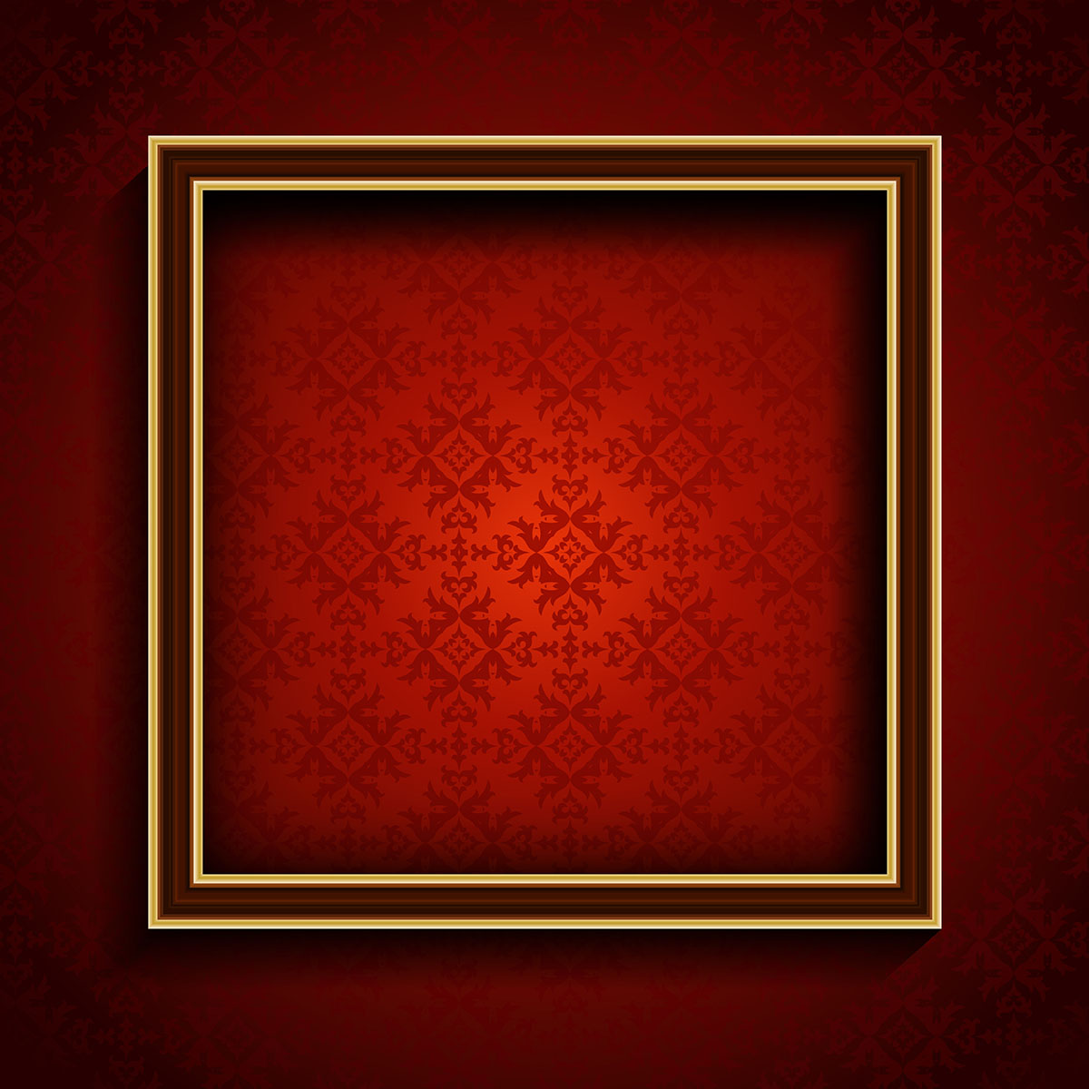 Old Picture Frame On Red Damask Background Download Free