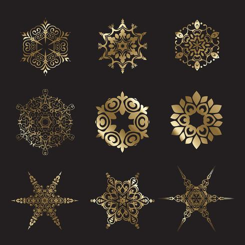 Golden snowflake designs vector