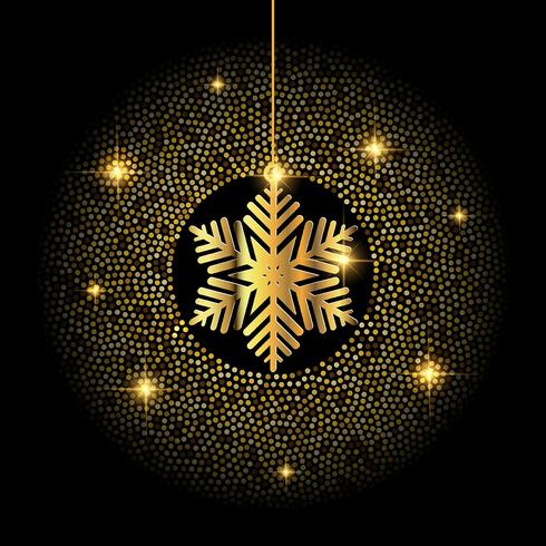 Golden Christmas snowflake background