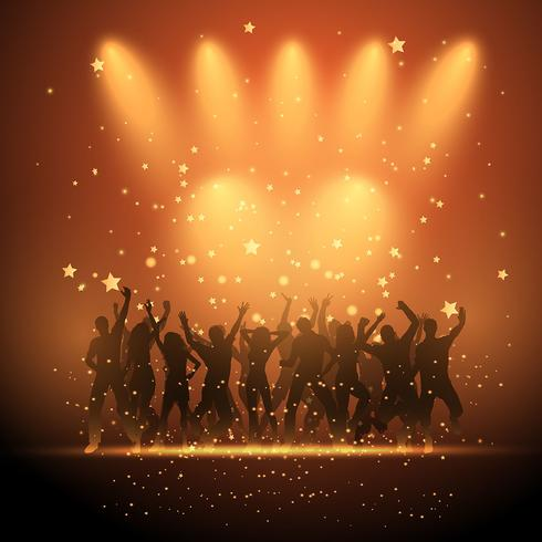 People dancing on spotlight background