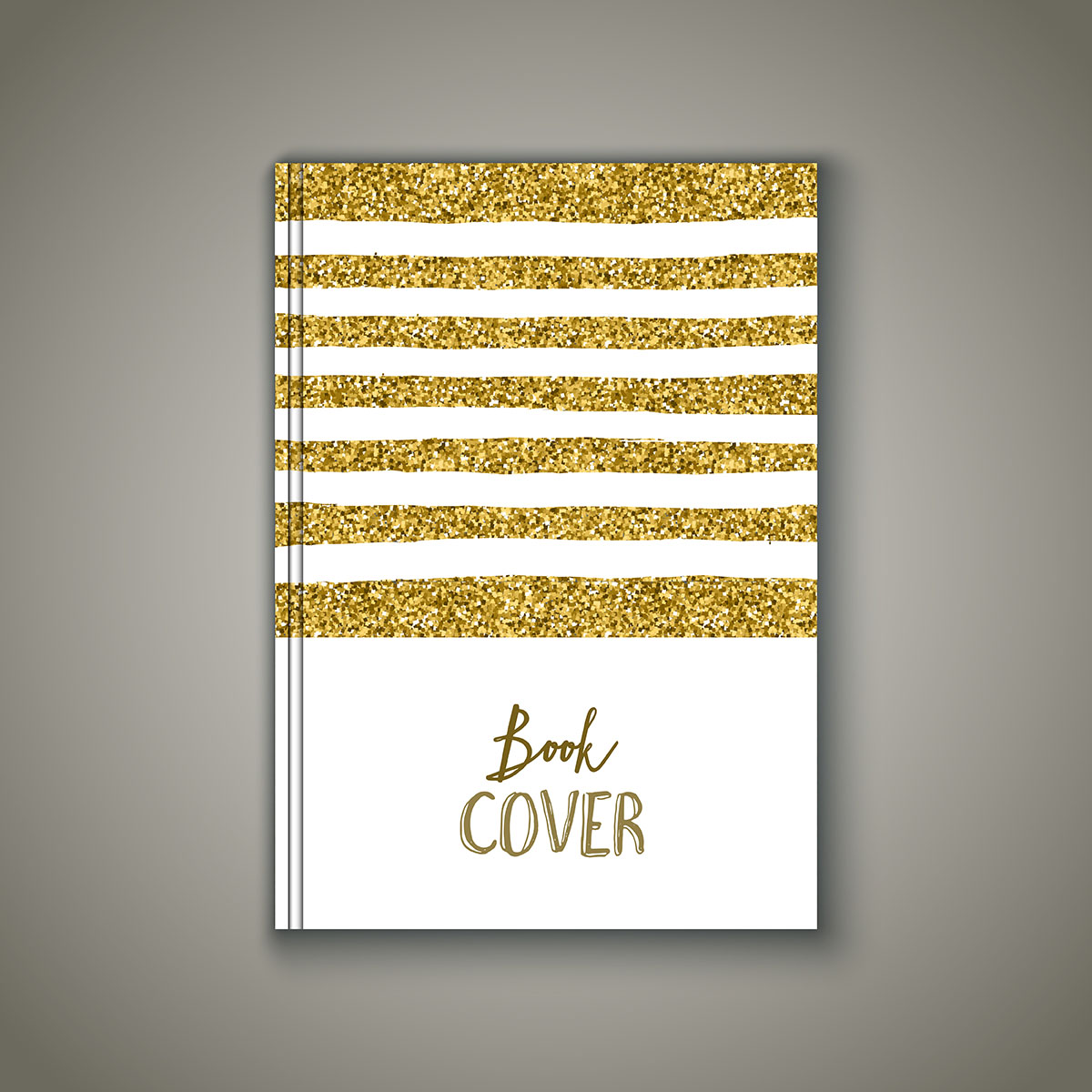 Book Cover Vector Art ~ Book cover with gold glittery design download free