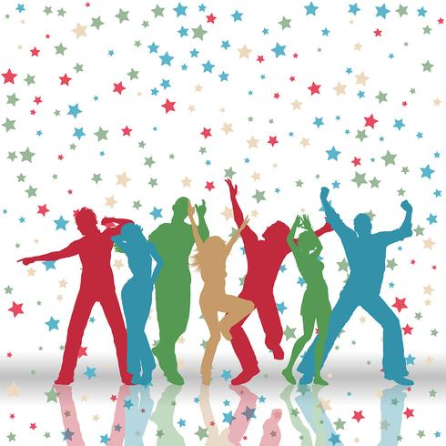 Party people on stars pattern background