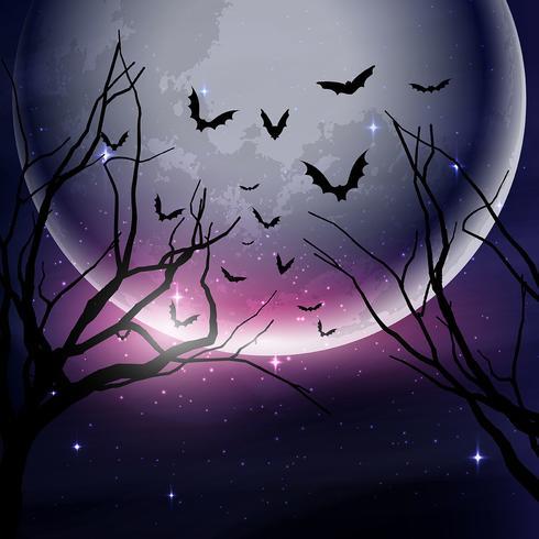 Fondo de cielo nocturno de Halloween