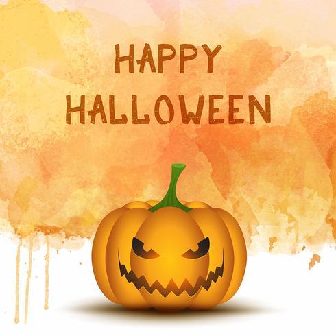 Zucca di Halloween su sfondo acquerello
