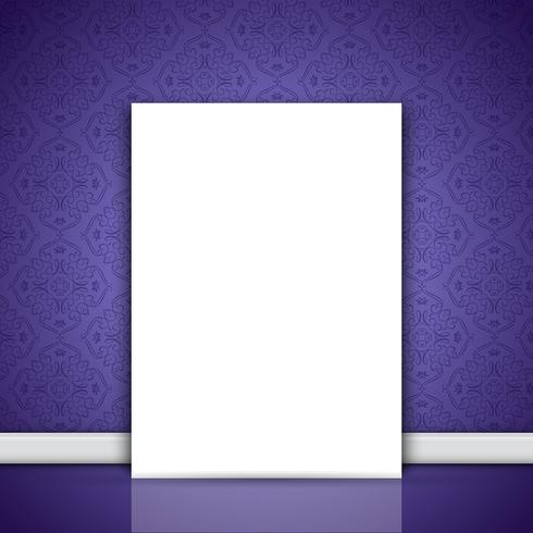 Blank canvas leaning on purple wallpaper