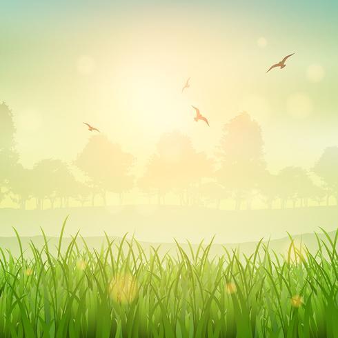 Retro grassy landscape