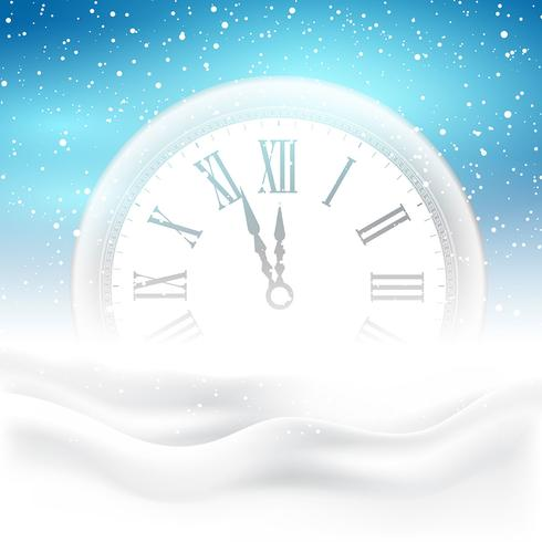 happy new year clock in snow