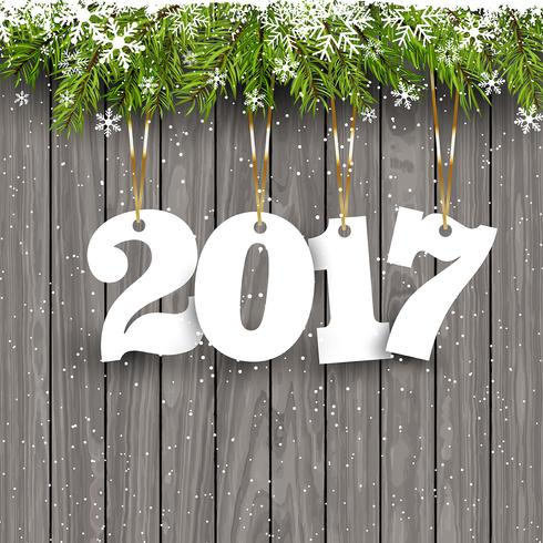 Happy New Year background on wood