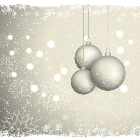 Christmas bauble background with snowflakes