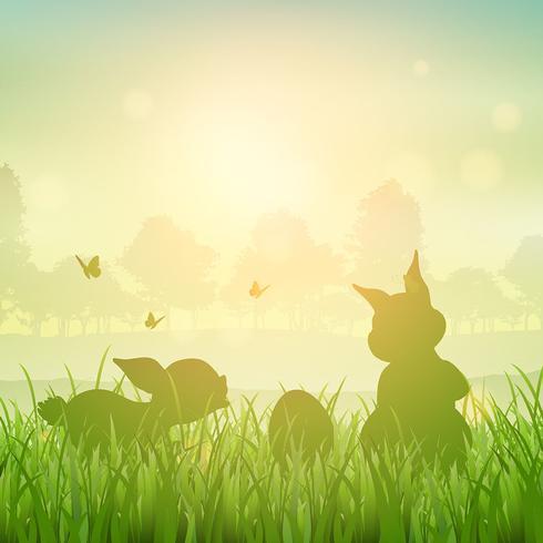 Paysage de lapin de Pâques