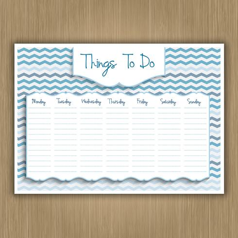 Things to do weekly planner